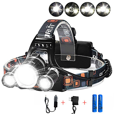 cheap Headlamps-Headlamps Headlight 3000 lm LED 3 Emitters 4 Mode with Batteries and Chargers Anglehead Suitable for Vehicles Super Light Camping / Hiking / Caving Cycling / Bike Hunting EU Plug AU Plug UK Plug US