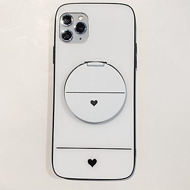 Недорогие Кейсы для iPhone 6 Plus-Кейс для Назначение Apple iPhone 11 / iPhone 11 Pro / iPhone 11 Pro Max со стендом / Зеркальная поверхность / Своими руками Кейс на заднюю панель С сердцем / Однотонный ТПУ / Закаленное стекло