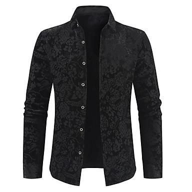 رخيصةأون قمصان رجالي-رجالي ترف / أساسي طباعة قطن قميص, ورد / لون سادة / كم طويل