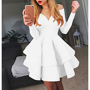 cheap Mini Dresses-Women's A-Line Dress Short Mini Dress - Long Sleeve Solid Colored Layered Off Shoulder Sexy Cocktail Party Going out Birthday White Black Red S M L XL XXL
