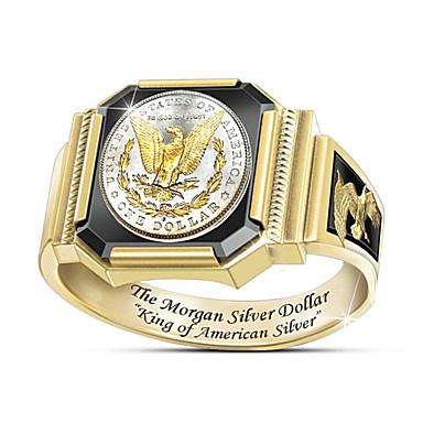 ieftine Inele-Bărbați Inel 1 buc Auriu Placat Auriu Rotund Stilat Cadou Zilnic Bijuterii Clasic Floare Cool