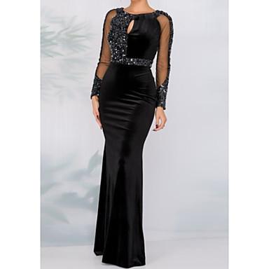 cheap Evening Dresses-Sheath / Column Jewel Neck Floor Length Tulle / Velvet Sparkle / Black Formal Evening / Wedding Guest Dress with Sequin / Crystals 2020