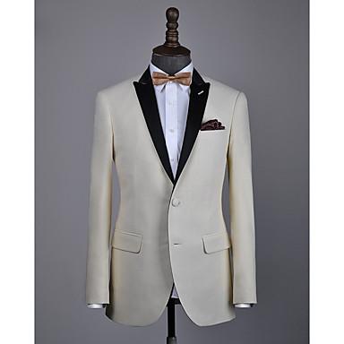 levne Pánské obleky-béžová vlna na zakázku smokingu