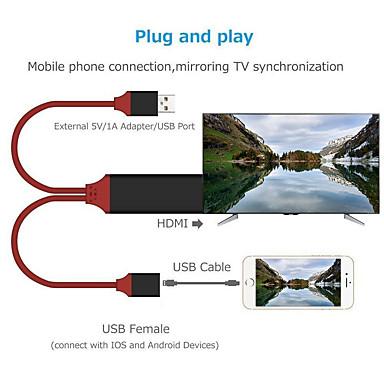 billige Telefonkabler og -adaptere-1080p av adaptertilbehør hdmi kabelplugg og spill telefon til tv-nettbrett synkroniser skjerm wire line smart hd for iphone 6 7 8 x