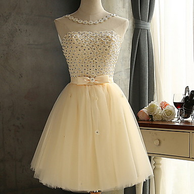 cheap Bridesmaid Dresses-Ball Gown Jewel Neck Knee Length Polyester Bridesmaid Dress with Crystals / Sparkle & Shine