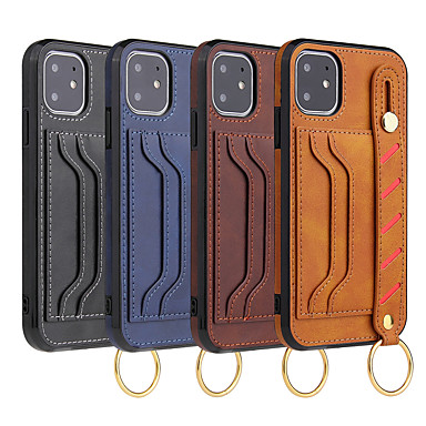 olcso Mobiltelefon tokok-Case Kompatibilitás Apple iPhone 11 / iPhone 11 Pro / iPhone 11 Pro Max Kártyatartó / Tartó gyűrű / Felkarkötő Héjtok Egyszínű / Rajzfilm PU bőr