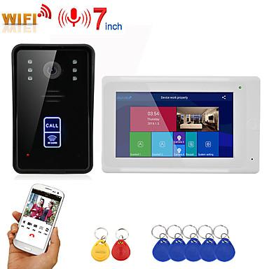 olcso Beléptető rendszerek-Mountainone sy703wmjid11 vezetékes& amp; vezeték nélküli beépített hangszóró, 7 hüvelykes kihangosító, egy-egy videó ajtótelefon