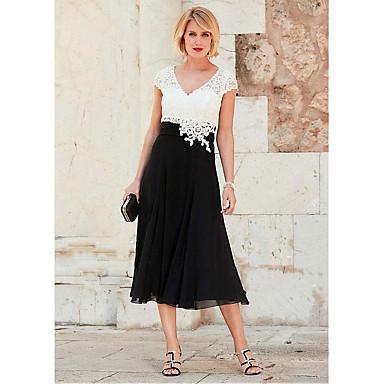 cheap Mother of the Bride Dresses-A-Line V Neck Tea Length Chiffon / Lace Short Sleeve Plus Size Mother of the Bride Dress with Lace / Ruching 2020