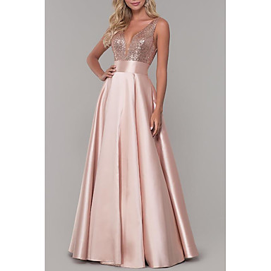 cheap Evening Dresses-A-Line V Neck Floor Length Satin Sparkle / Pink Prom / Formal Evening Dress with Sequin / Pleats 2020