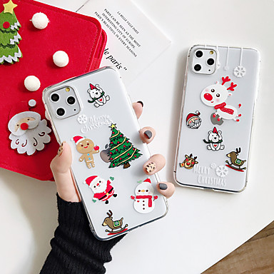 voordelige iPhone-hoesjes-hoesje Voor Apple iPhone 11 / iPhone 11 Pro / iPhone 11 Pro Max Transparant Achterkant Transparant / Kerstmis TPU