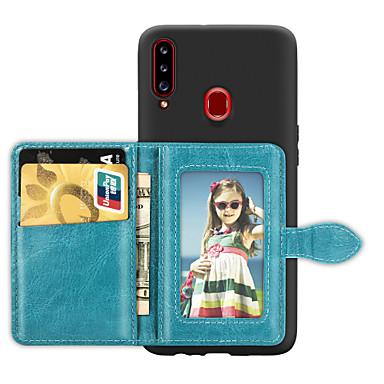 Недорогие Чехлы и кейсы для Galaxy А-Кейс для Назначение SSamsung Galaxy A5(2018) / A6 (2018) / A6+ (2018) Бумажник для карт / со стендом / Ультратонкий Кейс на заднюю панель Однотонный Кожа PU / ТПУ