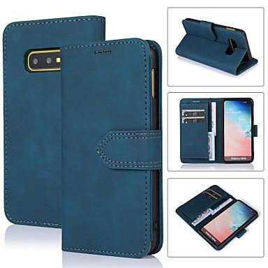 Недорогие Чехлы и кейсы для Galaxy S-Кейс для Назначение SSamsung Galaxy Galaxy S10 / Galaxy S10 Plus / Galaxy S10 Lite Кошелек / Бумажник для карт / Защита от удара Чехол Плитка Кожа PU