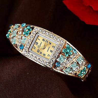 halpa Naisten kellot-Naisten Rannerengaskello Cubic Zirkonia Vapaa-aika Tyylikäs Sininen Kulta Vaaleanpunainen Metalliseos Kiina Quartz Purppura Punastuvan vaaleanpunainen Kulta Arkikello jäljitelmä Diamond 1 kpl