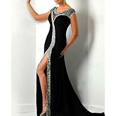 cheap Evening Dresses-Mermaid / Trumpet Jewel Neck Court Train Charmeuse Sparkle / Black Engagement / Formal Evening Dress with Crystals / Beading / Split 2020