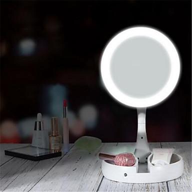 olcso Okos otthon-led fényes smink tükör kerek forma asztali hiúság kozmetikai 5x / 10x nagyító tükör kétoldalas háttérvilágítású tükrök nők számára