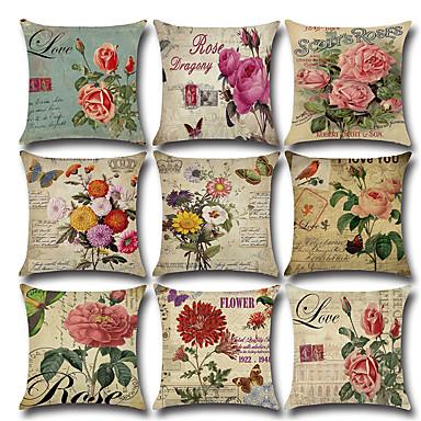 お買い得  枕-9ピースリネン枕カバー、花鳥素朴な結婚式スロー枕