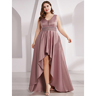 cheap Special Occasion Dresses-A-Line Plunging Neck Asymmetrical Polyester Pastel Colors Prom Dress 2020 with Sash / Ribbon / Ruffles by Lightinthebox