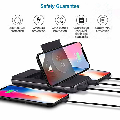 cheap Wireless Chargers-10000mAh Qi Wireless Charger Foldable Bracket Portable Battery Power Bank