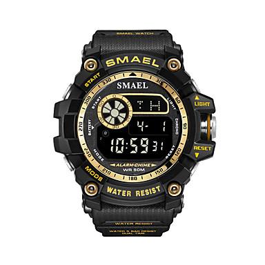 رخيصةأون ساعات الرجال-رجالي ساعة رياضية رقمي ستايل ستانلس ستيل أسود 50 m مقاوم للماء الكرونوغراف ساعة منبهة رقمي كاجوال الخارج - أسود أسود / أزرق أسود / فضي سنتان عمر البطارية