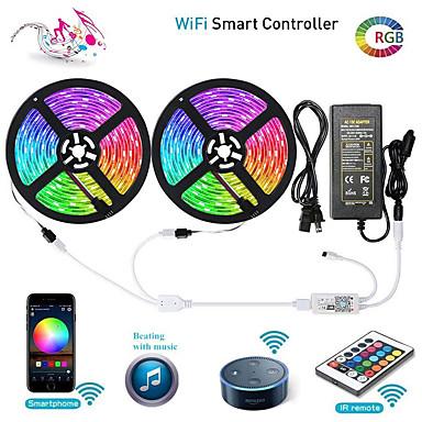 رخيصةأون LED وإضاءة-Zdm wifi الذكية led قطاع أضواء كيت 2 × 5 متر 5050 rgb الشريط ضوء العمل مع اليكسا جوجل المنزل wifi اللاسلكية الذكية الهاتف تسيطر بقيادة مجموعة 32.8ft 300 المصابيح حبل ضوء ماء&أمبير. 12v 6a امدادات