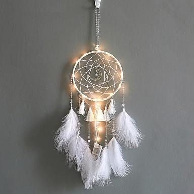 ieftine LED-uri & Iluminat-decorare acasă prindere de vis cu lumini pene ornamente țesute manual ziua de naștere cadou cadou decorare perete