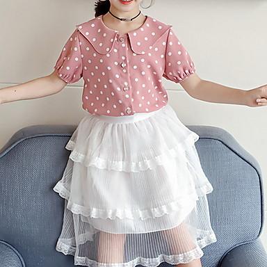 Недорогие Топы для девочек-Дети Девочки Классический Горошек С короткими рукавами Рубашка Розовый