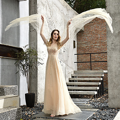 cheap Wedding Dresses-A-Line Jewel Neck Sweep / Brush Train Tulle 3/4 Length Sleeve Made-To-Measure Wedding Dresses with Beading 2020 / Illusion Sleeve