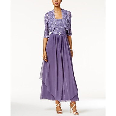 cheap Mother of the Bride Dresses-A-Line Scoop Neck Ankle Length Chiffon / Lace Half Sleeve Wrap Included Mother of the Bride Dress with Lace / Tier 2020 / Bell Sleeve