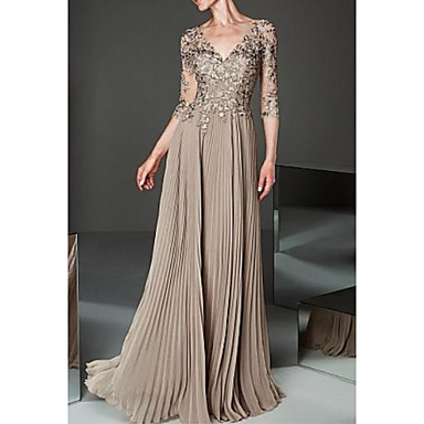 cheap Mother of the Bride Dresses-A-Line V Neck Floor Length Chiffon / Tulle 3/4 Length Sleeve Elegant & Luxurious Mother of the Bride Dress with Pleats / Appliques 2020