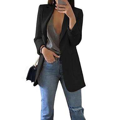 Недорогие Верхняя одежда-Жен. Блейзер, Однотонный Лацкан с тупым углом Полиэстер Черный / Розовый / Пурпурный