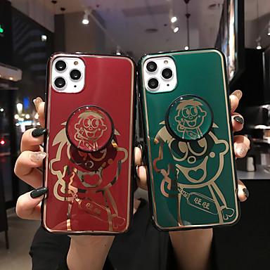 olcso iPhone tokok-Case Kompatibilitás Apple iPhone 11 / iPhone 11 Pro / iPhone 11 Pro Max Állvánnyal / Minta Fekete tok Állat TPU
