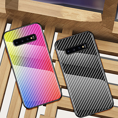 cheap Galaxy Note Series Cases / Covers-Carbon Fiber Gradient Tempered Glass Phone Case For Samsung Galaxy S11 Plus S11e S10 Plus S10e 5G S9 Plus S8 Plus Note 10 Plus Note 9 Note 8 Shockproof Back Cover Soft TPU edge Protection