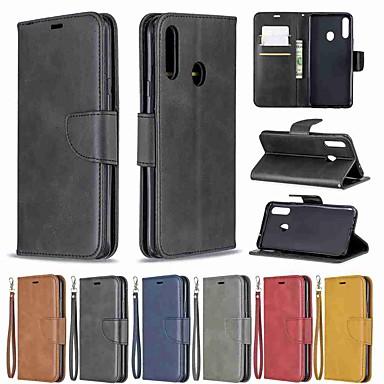 رخيصةأون حافظات / جرابات هواتف جالكسي A-غطاء من أجل Samsung Galaxy S9 / S9 Plus / S8 Plus محفظة / حامل البطاقات / مع حامل غطاء كامل للجسم لون سادة جلد PU / TPU