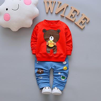 voordelige Baby Jongens kledingsets-Baby Jongens Standaard Wit / Rood Print Print Lange mouw Lang Lang Kledingset Wit