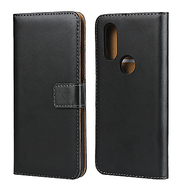 Недорогие Чехлы и кейсы для Motorola-Кейс для Назначение Motorola МОТО One Vision / Мото G7 / Moto G7 Play Бумажник для карт Кейс на заднюю панель Однотонный Настоящая кожа