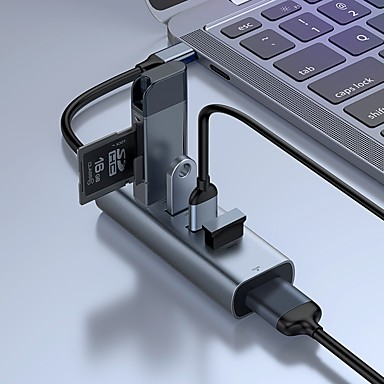 cheap Phone Chargers-Baseus Enjoy Series Type-C to USB3.0*4 HDMI HD Intelligent HUB Adapter Grey