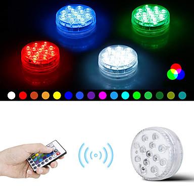 olcso Kültéri lámpa és gyertyatartók-1 db vízálló rgb led lámpa távoli merülő led lámpák díszítő lámpájával 8,5 cm-re 28 távvezérlővel