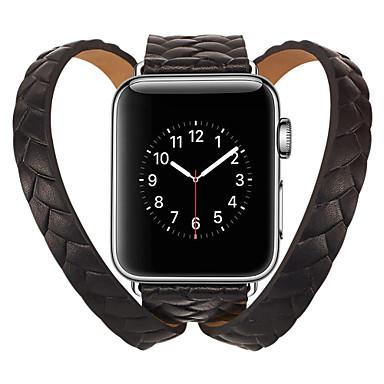 voordelige Apple Watch-bandjes-lederen lus band voor Apple Watch-serie 5 4 3 2 1 38 mm 42 mm geweven kroon polsband armbanden voor iwatch 40 mm 44 mm