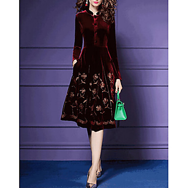 cheap Midi Dresses-Women's A Line Dress - Long Sleeve Floral Stand Velvet Red Navy Blue S M L XL XXL XXXL XXXXL