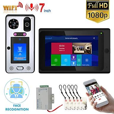 olcso Beléptető rendszerek-MOUNTAINONE SY703BGLB11 WIFI / Vezeték nélküli Beépített hangszóró 7 hüvelyk Hands free 1080 Pixel Egy az egyhez videó kaputelefon