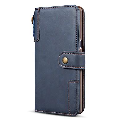 Недорогие Чехлы и кейсы для Galaxy S-Кейс для Назначение SSamsung Galaxy S9 / S9 Plus / S8 Plus Кошелек / Бумажник для карт / Защита от удара Чехол Однотонный Настоящая кожа