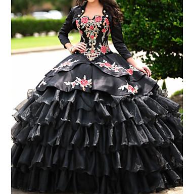 povoljno Maturalne haljine-A-kroj Scoop Neck Do poda Čipka / Organza / Saten Elegantno Prom / Formalna večer Haljina s Vez / Falte 2020
