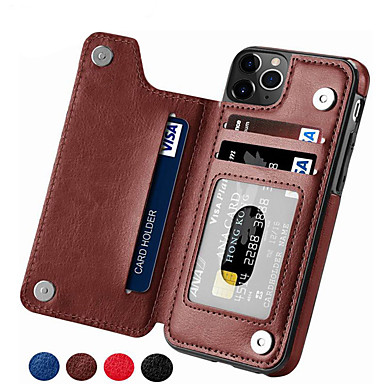 cheap New Arrivals-Case For Apple iPhone 11 / iPhone 11 Pro / iPhone 11 Pro Max Card Holder Back Cover Solid Colored PU Leather