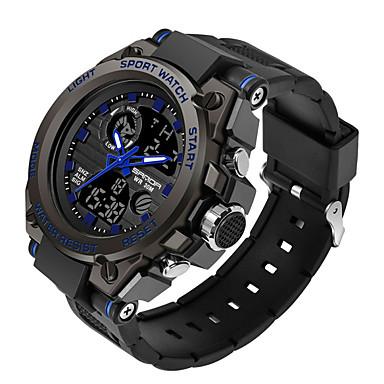 رخيصةأون ساعات الرجال-SANDA رجالي ساعة عسكرية رقمي رياضي ستايل سيليكون 30 m مقاوم للماء رزنامه LCD تناظري-رقمي الخارج موضة - أسود أسود / أزرق أسود / ذهبي