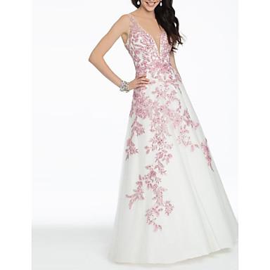 hesapli Balo Elbiseleri-A-Şekilli Açık Sırtlı Balo Resmi Akşam Elbise Boyun eğme çizgisi Kolsuz Yere Kadar Saten ile Nakış 2020