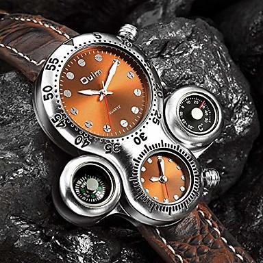 Недорогие Часы на кожаном ремешке-Oulm Муж. Для пары Повседневные часы Спортивные часы Модные часы Кварцевый Роскошь Повседневные часы Кожа Черный / Коричневый Аналоговый - Белый Черный Коричневый / Японский / Японский / Steampunk