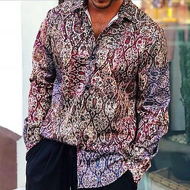 voordelige Herenoverhemden-Heren Overhemd Geometrisch Regenboog