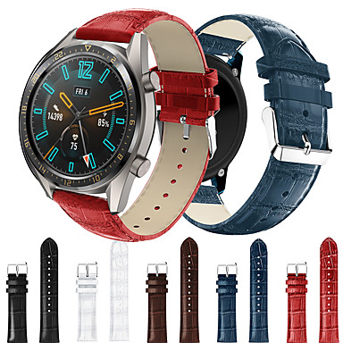 Недорогие Ремешки для часов Huawei-ремешок для часов smartwatch для часов gt 46mm / gt2 46mm / часы gt active / часы gt / honor magic / watch 2 pro спорт бизнес-группа высокого класса модная удобная кожаная петля из натуральной кожи