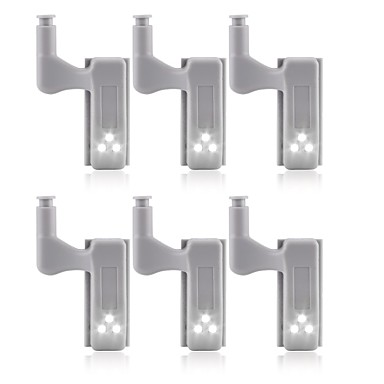 baratos LED & Iluminação-6 pcs universal led sob a luz do armário armário dobradiça interior lâmpada armário roupeiro sensor de luz cozinha em casa luz noturna