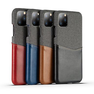 Недорогие Кейсы для iPhone 7 Plus-Кейс для Назначение Apple iPhone 11 / iPhone 11 Pro / iPhone 11 Pro Max Бумажник для карт / Защита от удара Кейс на заднюю панель Однотонный Настоящая кожа / холст
